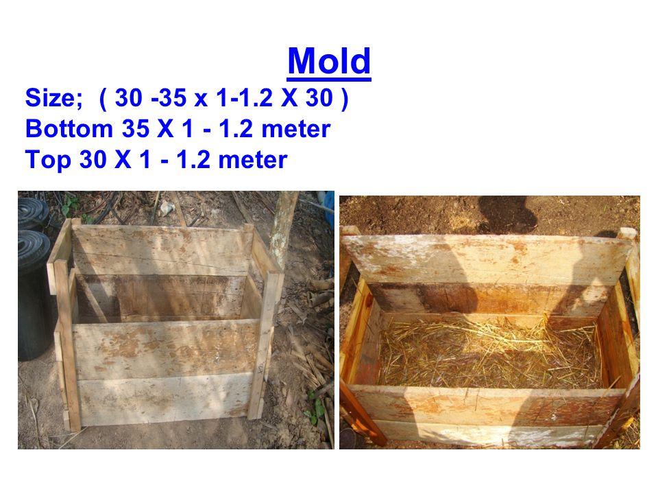 Mold Size; ( 30 -35 x 1-1.2 X 30 ) Bottom 35 X 1 - 1.2 meter Top 30 X 1 - 1.2 meter