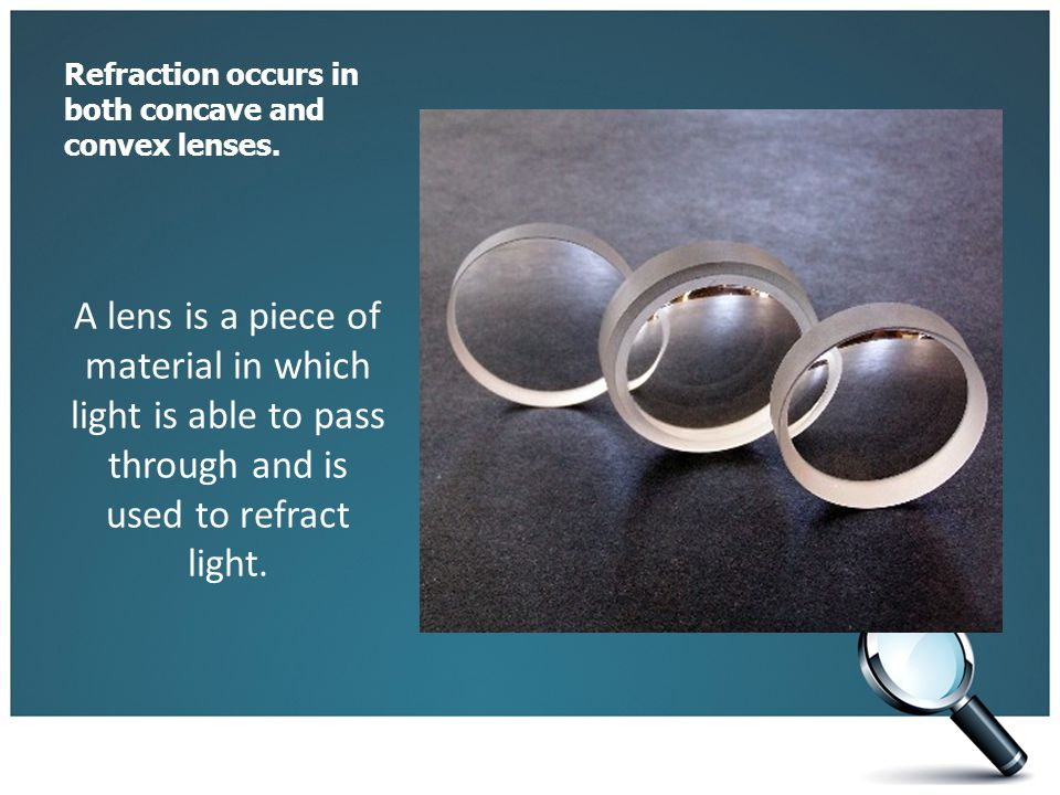 Refraction occurs in both concave and convex lenses. A lens is a piece of material in which light is able to pass through and is used to refract light