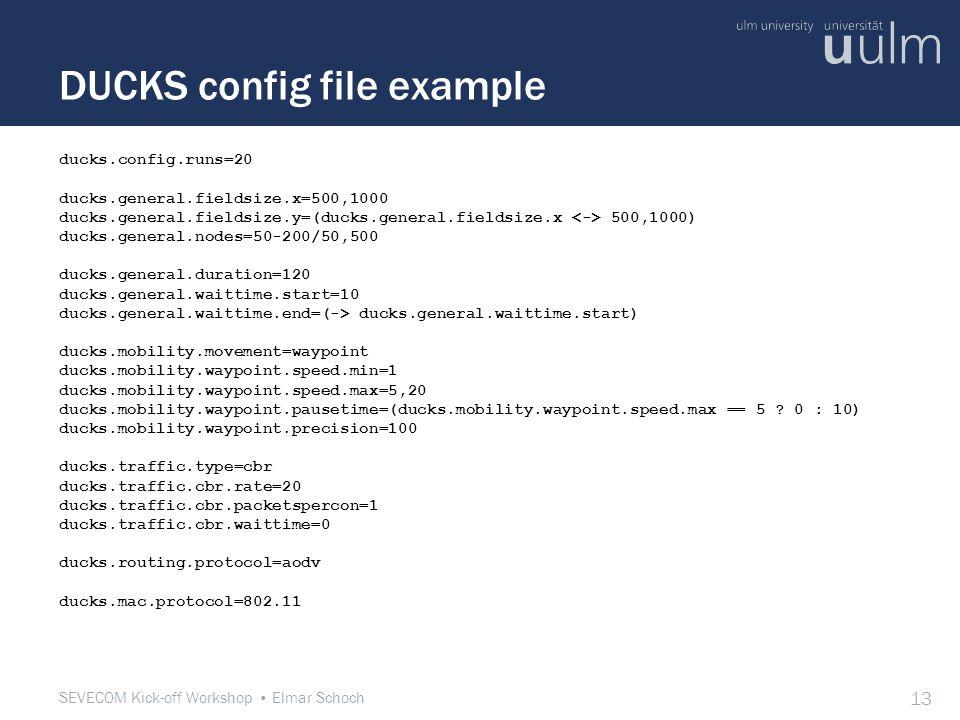 SEVECOM Kick-off Workshop Elmar Schoch 13 DUCKS config file example ducks.config.runs=20 ducks.general.fieldsize.x=500,1000 ducks.general.fieldsize.y=(ducks.general.fieldsize.x 500,1000) ducks.general.nodes=50-200/50,500 ducks.general.duration=120 ducks.general.waittime.start=10 ducks.general.waittime.end=(-> ducks.general.waittime.start) ducks.mobility.movement=waypoint ducks.mobility.waypoint.speed.min=1 ducks.mobility.waypoint.speed.max=5,20 ducks.mobility.waypoint.pausetime=(ducks.mobility.waypoint.speed.max == 5 .