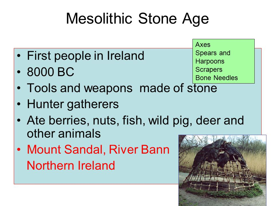 Mesolithic Stone Age 7000 BC ? 4000 BC Bronze Age 2000 BC ? 500 BC Neolithic Stone Age Iron Age Celts Ancient Ireland