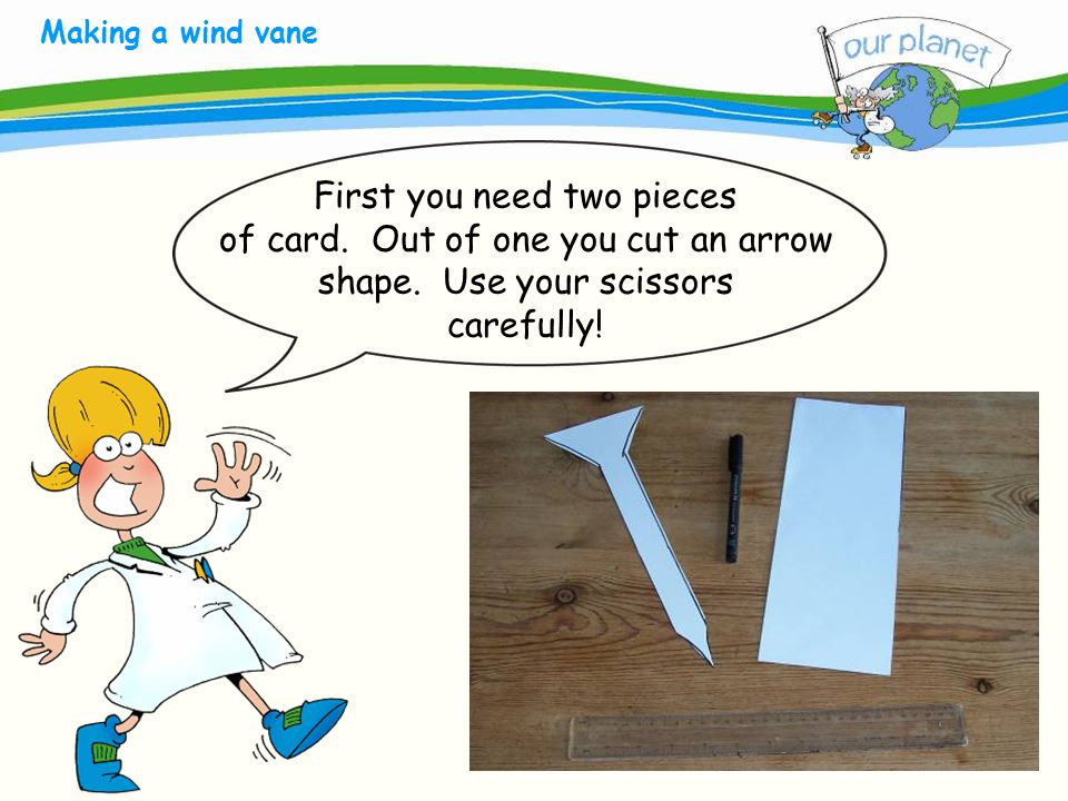 What size is your carbon footprint. Making a wind vane First you need two pieces of card.