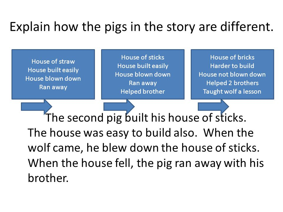Explain how the pigs in the story are different. The second pig built his house of sticks.