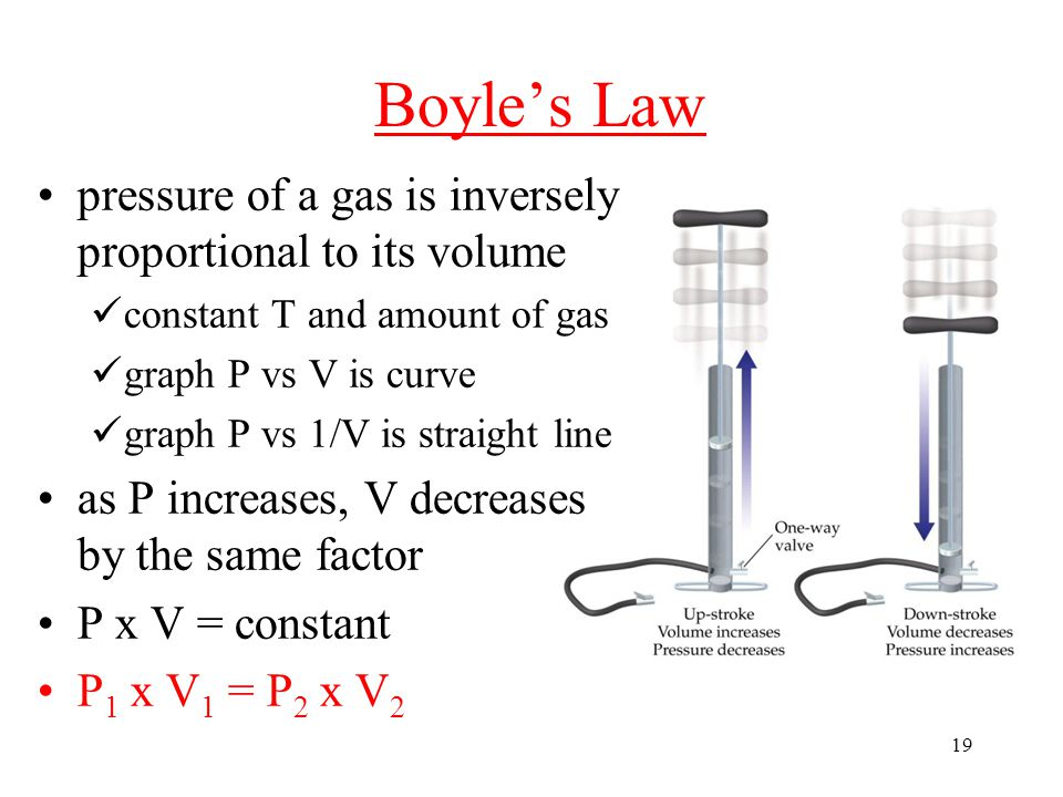19 Boyle's Law pressure of a gas is inversely proportional to its volume constant T and amount of gas graph P vs V is curve graph P vs 1/V is straight line as P increases, V decreases by the same factor P x V = constant P 1 x V 1 = P 2 x V 2
