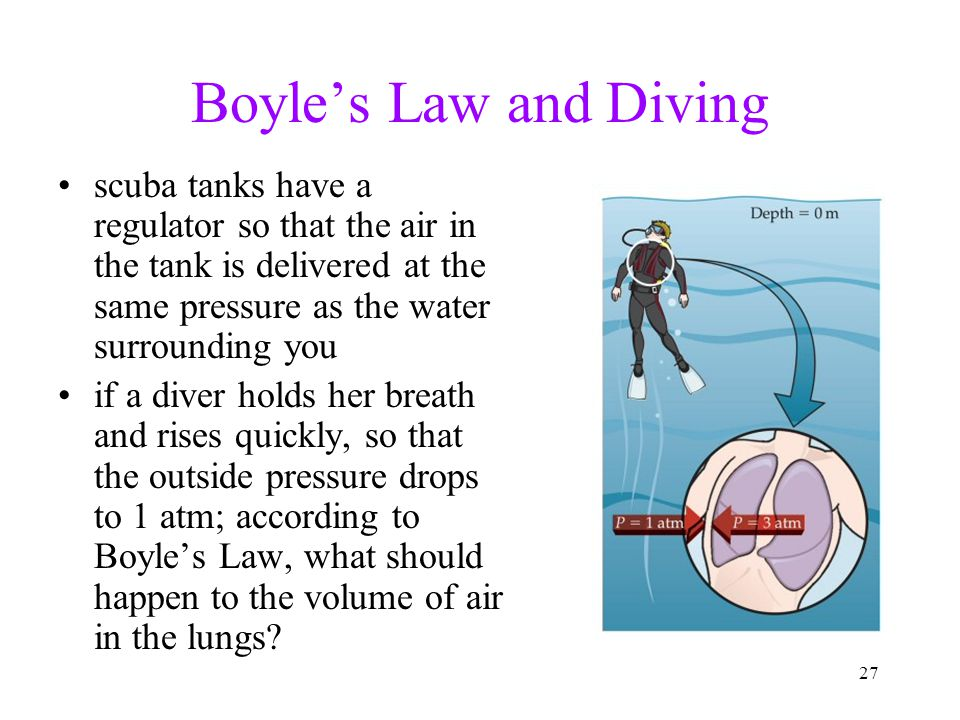 27 Boyle's Law and Diving scuba tanks have a regulator so that the air in the tank is delivered at the same pressure as the water surrounding you if a diver holds her breath and rises quickly, so that the outside pressure drops to 1 atm; according to Boyle's Law, what should happen to the volume of air in the lungs