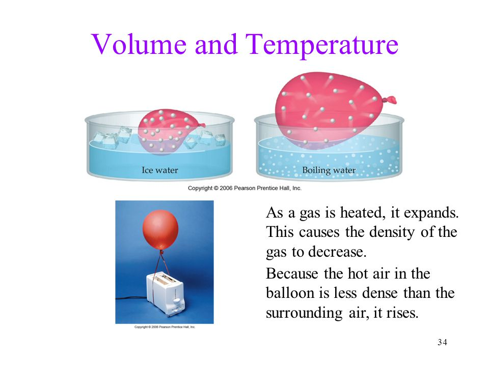 34 Volume and Temperature As a gas is heated, it expands.