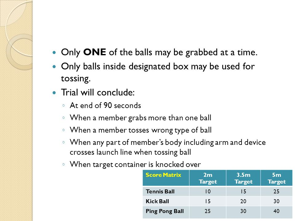 Only ONE of the balls may be grabbed at a time.