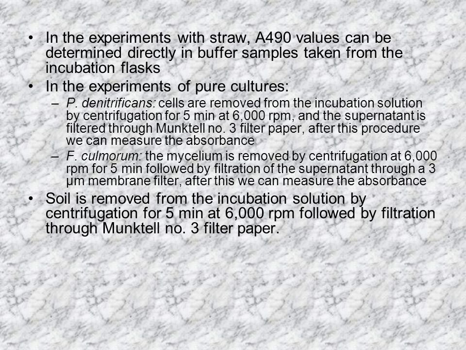 In the experiments with straw, A490 values can be determined directly in buffer samples taken from the incubation flasks In the experiments of pure cultures: –P.