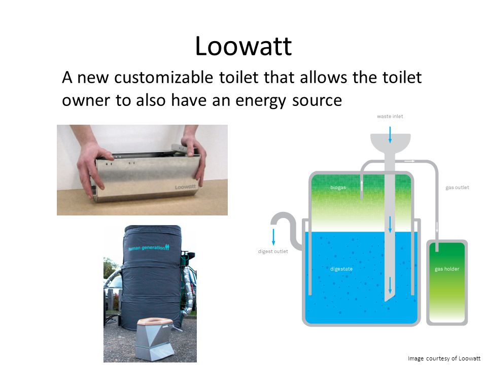 Loowatt A new customizable toilet that allows the toilet owner to also have an energy source Image courtesy of Loowatt