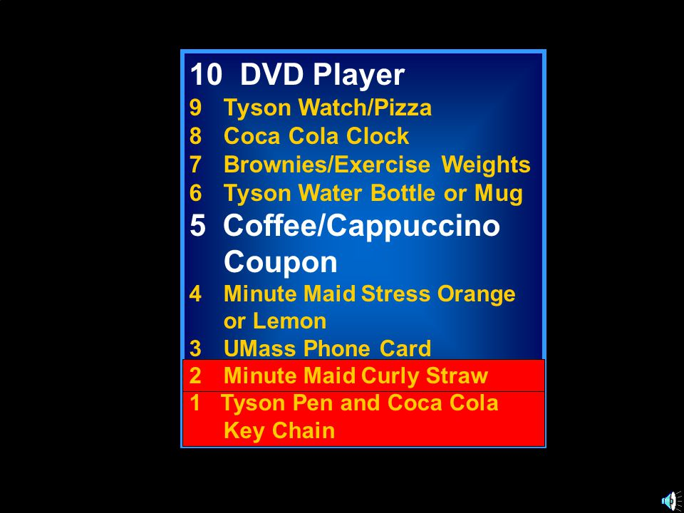 10 DVD Player 9Tyson Watch/Pizza 8Coca Cola Clock 7Brownies/Exercise Weights 6Tyson Water Bottle or Mug 5 Coffee/Cappuccino Coupon 4Minute Maid Stress Orange or Lemon 3UMass Phone Card 2Minute Maid Curly Straw 1 Tyson Pen and Coca Cola Key Chain