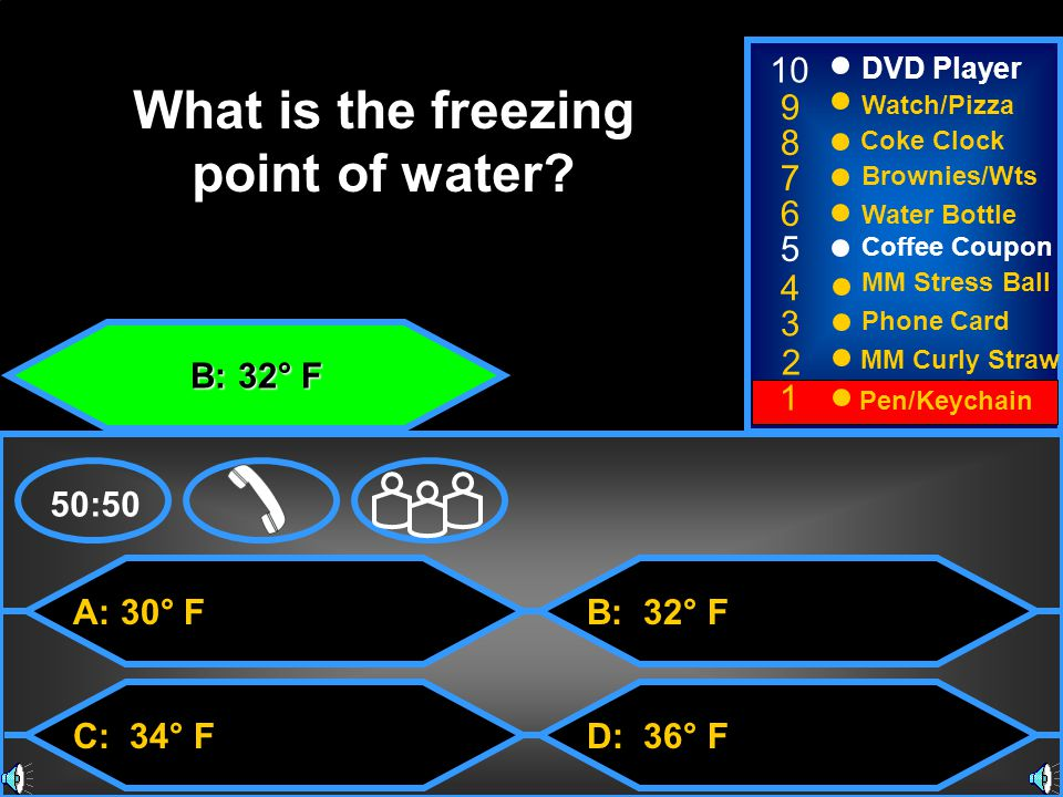 B: 50:50 What is the freezing point of water.