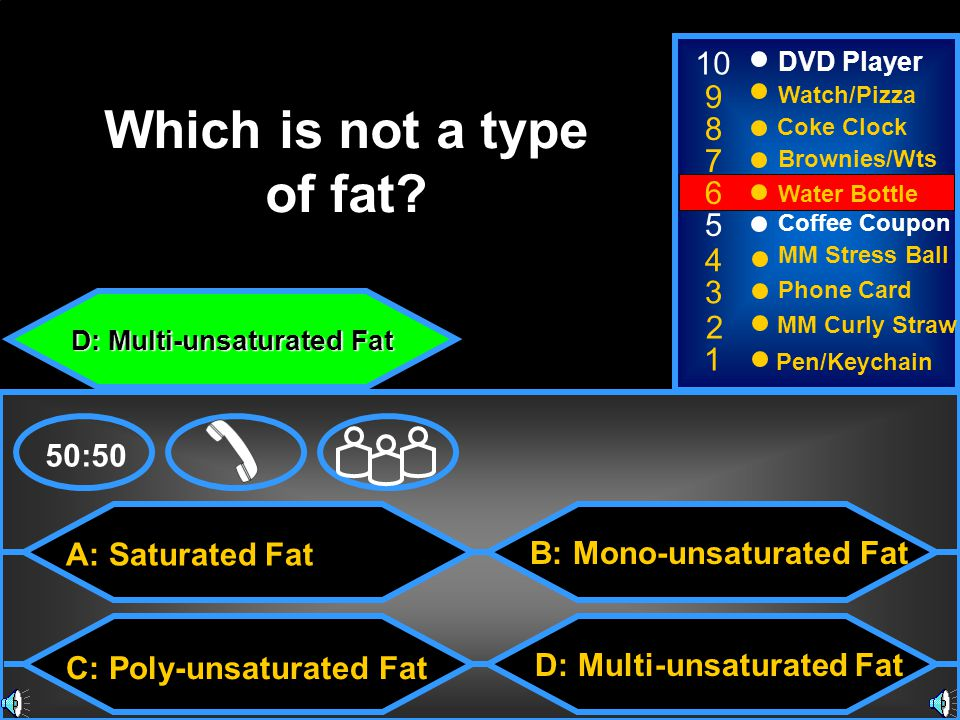 D: Multi-unsaturated Fat B: Mono-unsaturated Fat 50:50 Which is not a type of fat.
