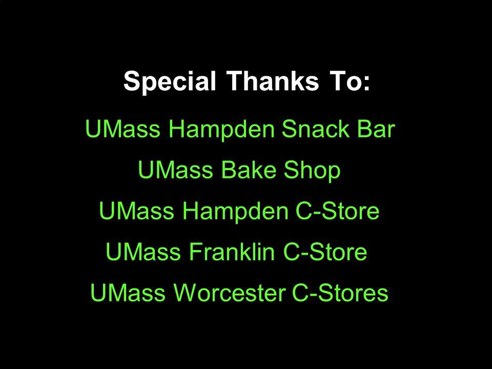 Special Thanks To: UMass Hampden Snack Bar UMass Bake Shop UMass Hampden C-Store UMass Franklin C-Store UMass Worcester C-Stores