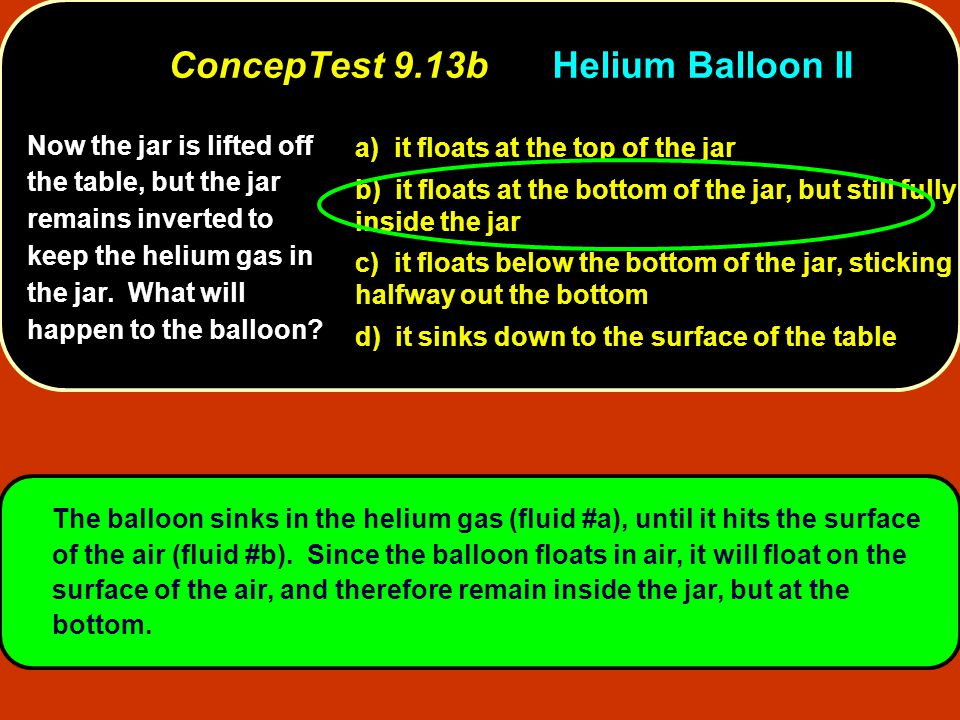 Now the jar is lifted off the table, but the jar remains inverted to keep the helium gas in the jar. What will happen to the balloon? a) it floats at
