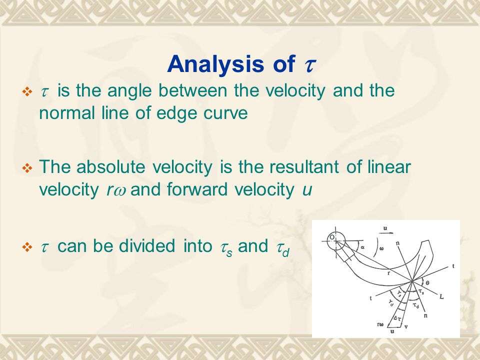 Analysis of    is the angle between the velocity and the normal line of edge curve  The absolute velocity is the resultant of linear velocity r  and forward velocity u   can be divided into  s and  d