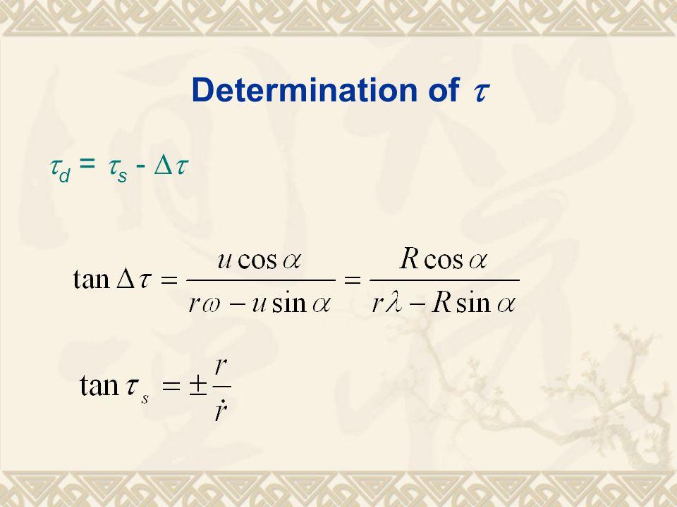 Determination of   d =  s - 