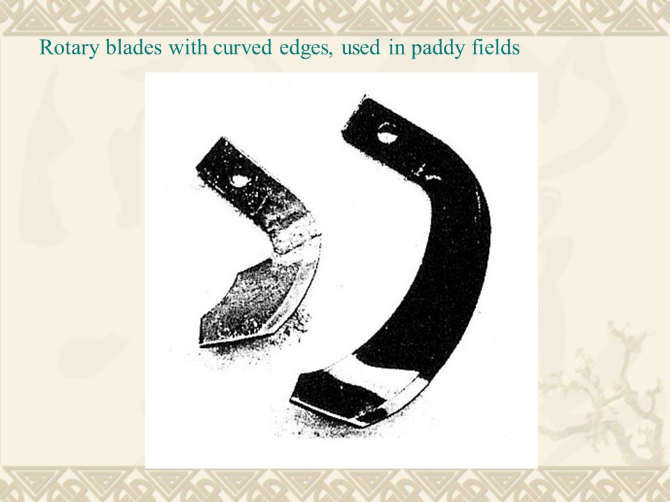 Rotary blades with curved edges, used in paddy fields