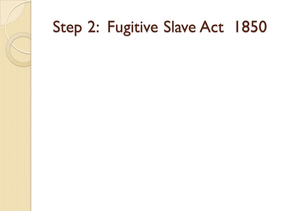 Step 2: Fugitive Slave Act 1850