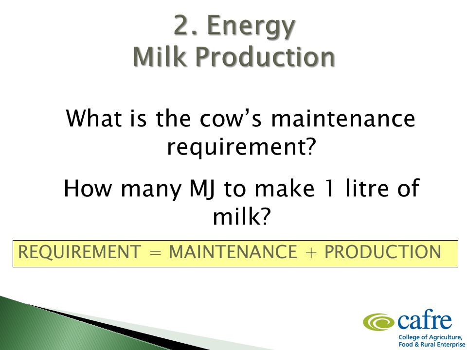 What is the cow's maintenance requirement. How many MJ to make 1 litre of milk.