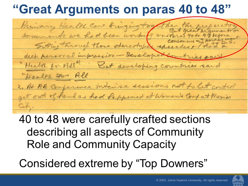 Great Arguments on paras 40 to 48 40 to 48 were carefully crafted sections describing all aspects of Community Role and Community Capacity Considered extreme by Top Downers