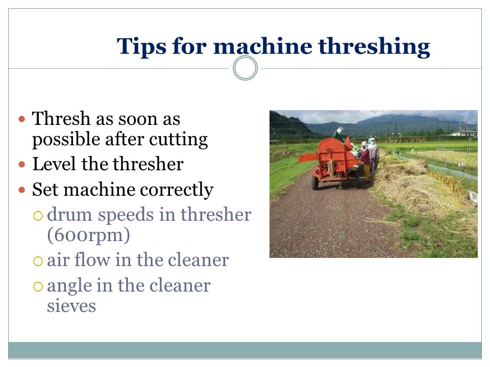 Tips for machine threshing Thresh as soon as possible after cutting Level the thresher Set machine correctly  drum speeds in thresher (600rpm)  air