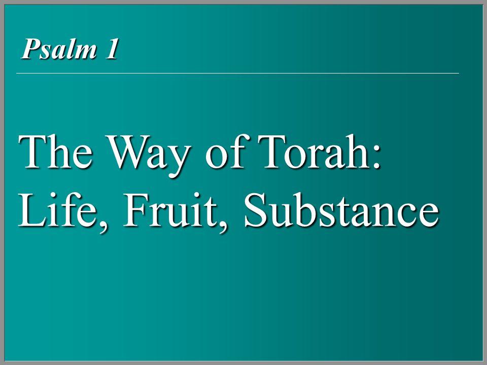 The Way of Torah: Life, Fruit, Substance Psalm 1