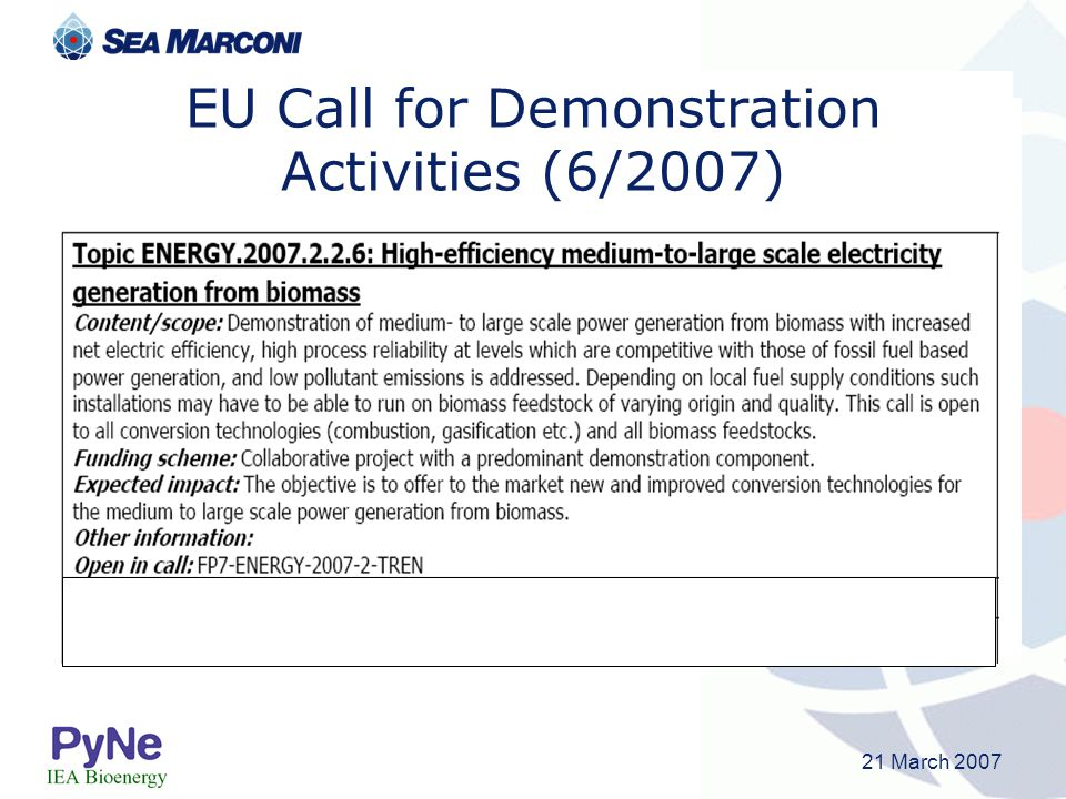 21 March 2007 EU Call for Demonstration Activities (6/2007)