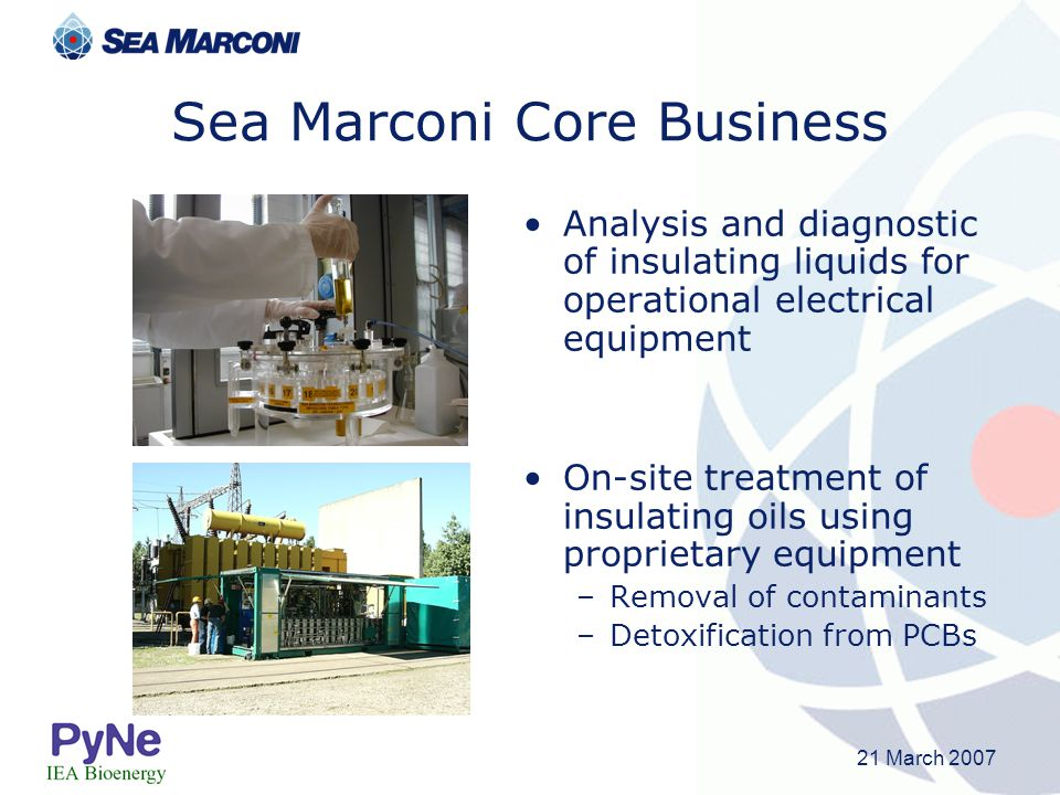 21 March 2007 Sea Marconi Core Business Analysis and diagnostic of insulating liquids for operational electrical equipment On-site treatment of insula