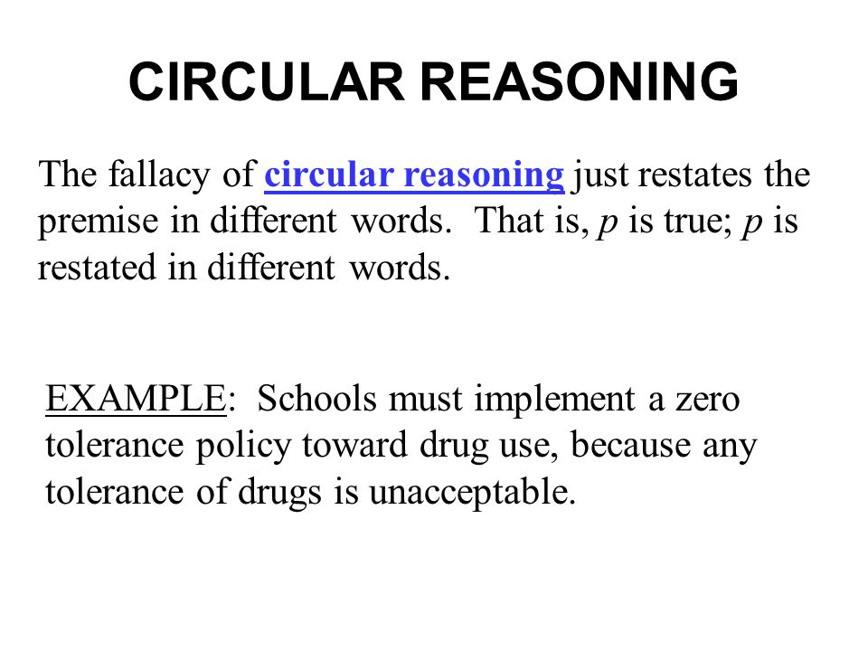 CIRCULAR REASONING The fallacy of circular reasoning just restates the premise in different words.