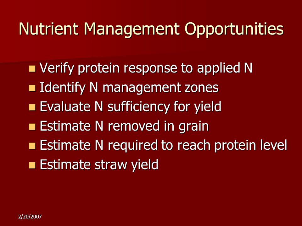 Verify protein response to applied N Verify protein response to applied N Identify N management zones Identify N management zones Evaluate N sufficien