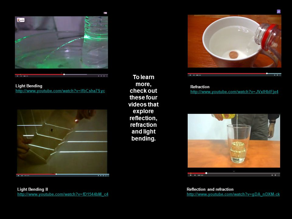 To learn more, check out these four videos that explore reflection, refraction and light bending.