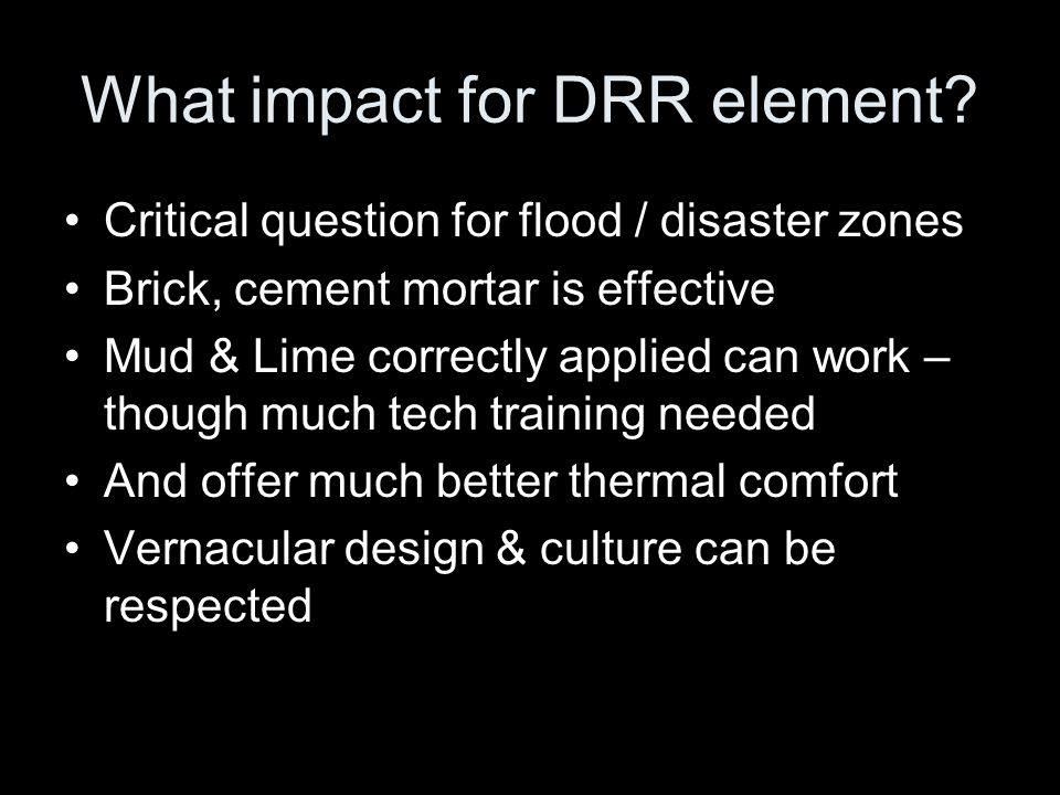 What impact for DRR element.