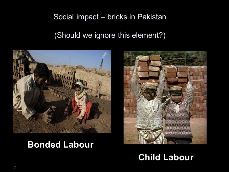 Social impact – bricks in Pakistan (Should we ignore this element ) 7 Child Labour Bonded Labour