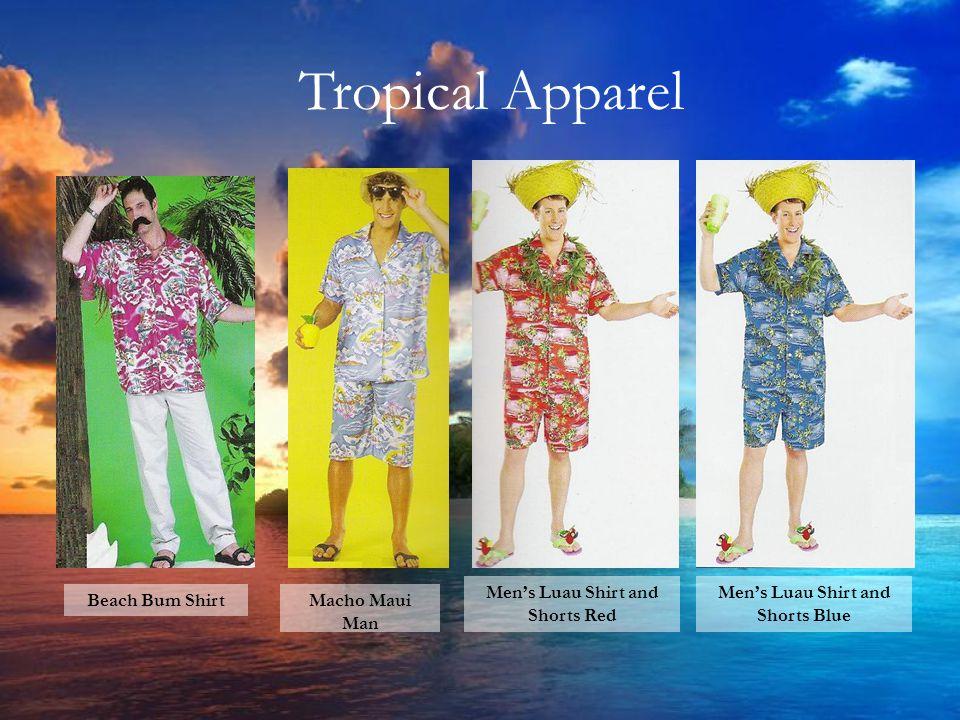 Tropical Apparel Sailor Hats Men's Luau Shirt and Shorts Blue Men's Luau Shirt and Shorts Red Macho Maui Man Beach Bum Shirt