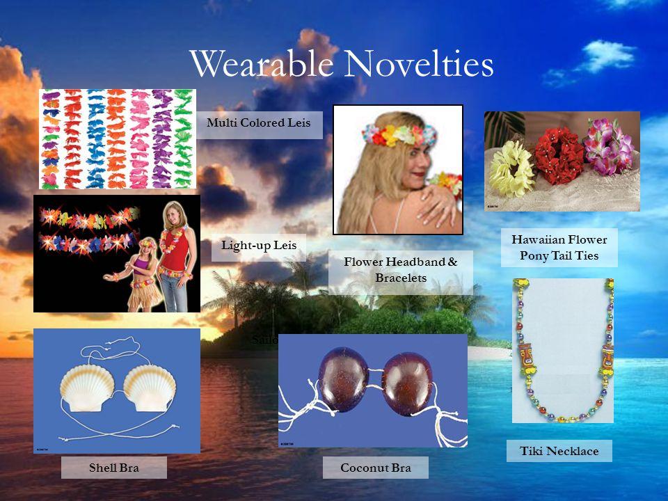 Wearable Novelties Multi Colored Leis Coconut Bra Sailor Hats Flower Headband & Bracelets Hawaiian Flower Pony Tail Ties Light-up Leis Shell Bra Tiki