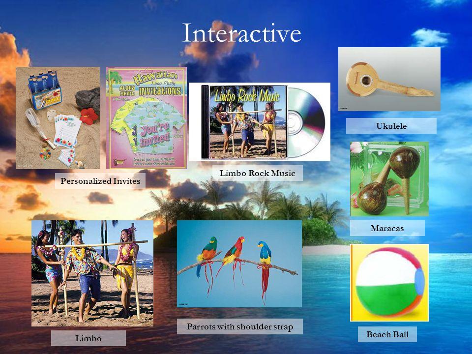 Interactive Personalized Invites Limbo Rock Music Ukulele Parrots with shoulder strap Beach Ball Limbo Maracas