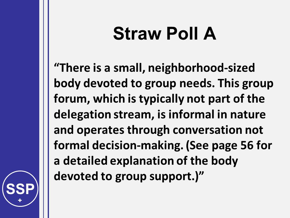 SSP + Straw Poll A There is a small, neighborhood-sized body devoted to group needs.