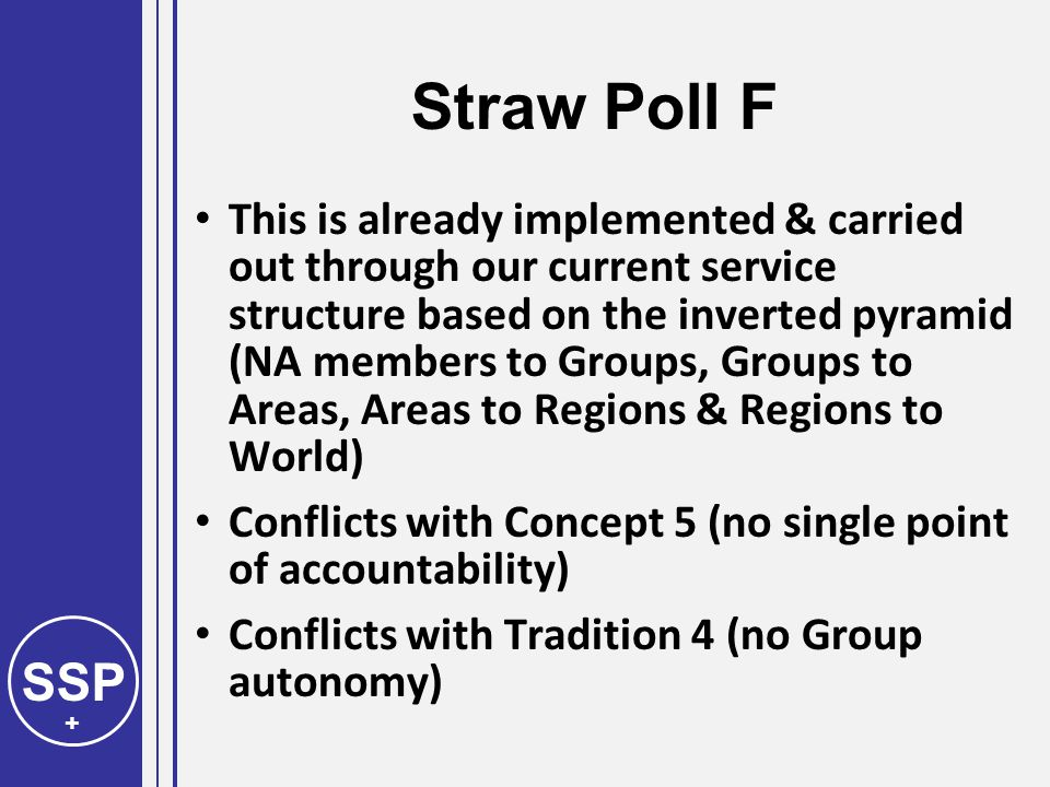 SSP + Straw Poll F This is already implemented & carried out through our current service structure based on the inverted pyramid (NA members to Groups, Groups to Areas, Areas to Regions & Regions to World) Conflicts with Concept 5 (no single point of accountability) Conflicts with Tradition 4 (no Group autonomy)