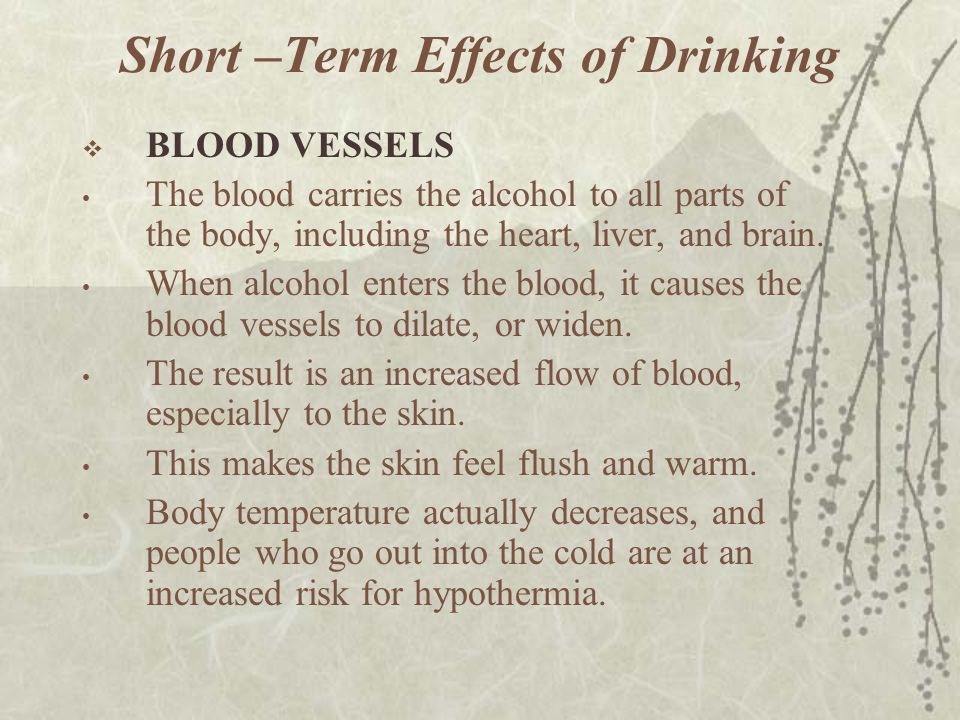 Short –Term Effects of Drinking  BLOOD VESSELS The blood carries the alcohol to all parts of the body, including the heart, liver, and brain. When al