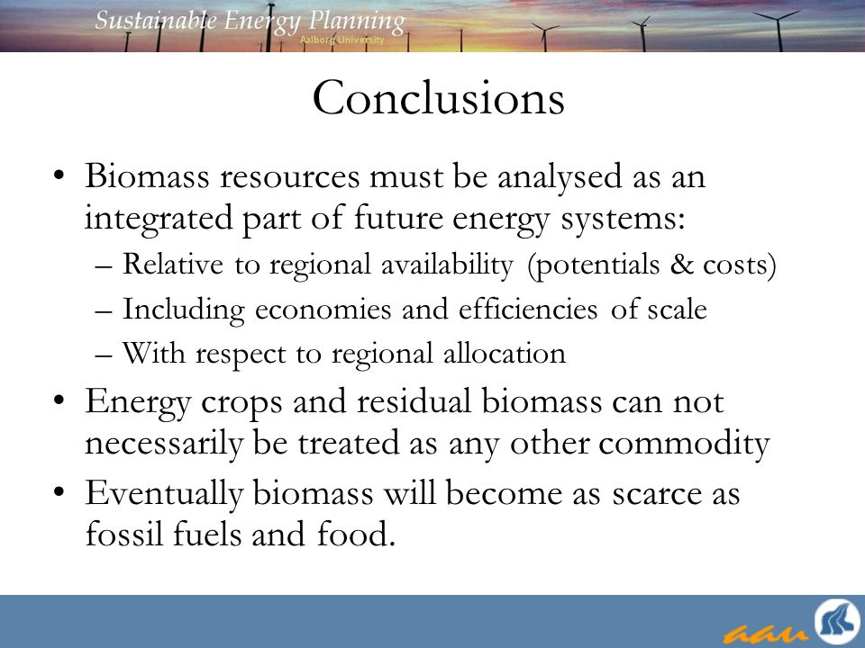 Conclusions Biomass resources must be analysed as an integrated part of future energy systems: –Relative to regional availability (potentials & costs) –Including economies and efficiencies of scale –With respect to regional allocation Energy crops and residual biomass can not necessarily be treated as any other commodity Eventually biomass will become as scarce as fossil fuels and food.