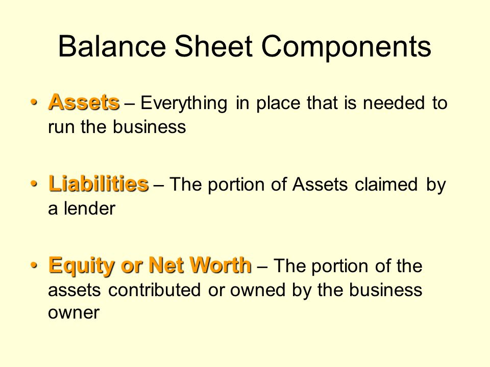 Balance Sheet Components AssetsAssets – Everything in place that is needed to run the business LiabilitiesLiabilities – The portion of Assets claimed by a lender Equity or Net WorthEquity or Net Worth – The portion of the assets contributed or owned by the business owner
