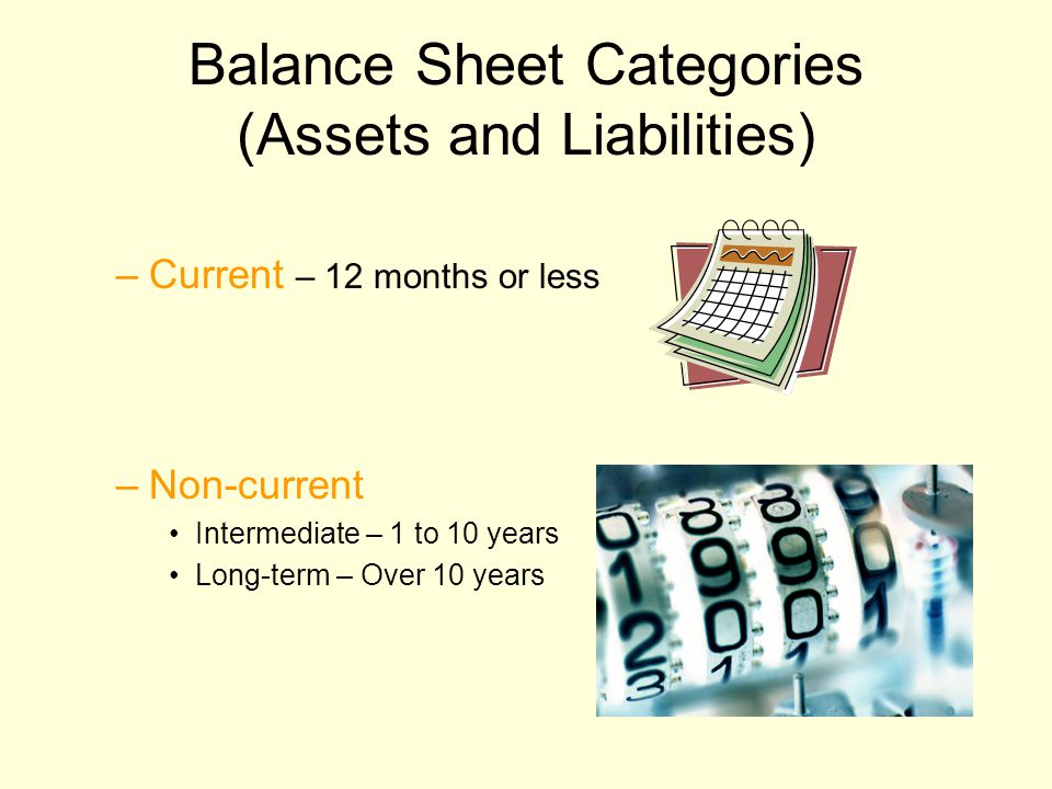 Balance Sheet Categories (Assets and Liabilities) –Current – 12 months or less –Non-current Intermediate – 1 to 10 years Long-term – Over 10 years
