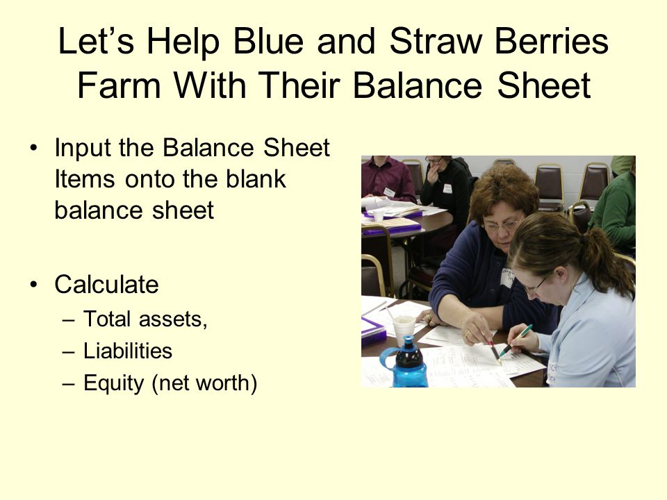 Let's Help Blue and Straw Berries Farm With Their Balance Sheet Input the Balance Sheet Items onto the blank balance sheet Calculate –Total assets, –L