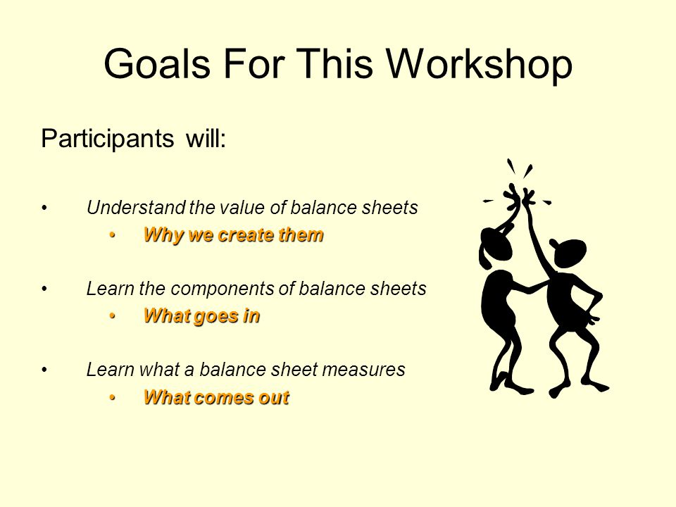 Goals For This Workshop Participants will: Understand the value of balance sheets Why we create themWhy we create them Learn the components of balance sheets What goes inWhat goes in Learn what a balance sheet measures What comes outWhat comes out