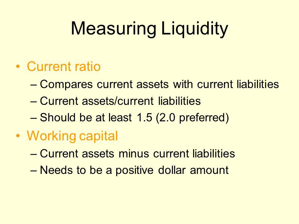 Measuring Liquidity Current ratio –Compares current assets with current liabilities –Current assets/current liabilities –Should be at least 1.5 (2.0 p