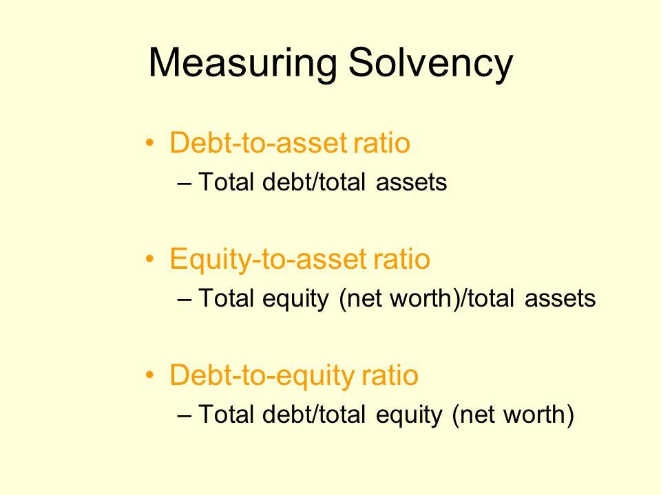Measuring Solvency Debt-to-asset ratio –Total debt/total assets Equity-to-asset ratio –Total equity (net worth)/total assets Debt-to-equity ratio –Tot