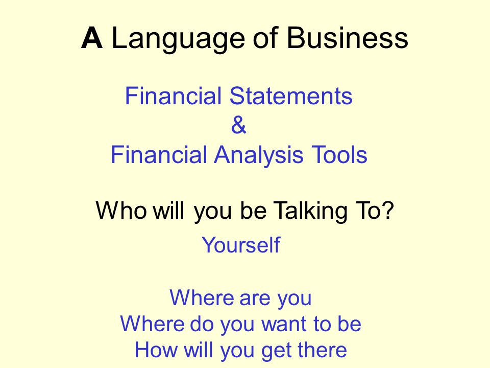 A Language of Business Who will you be Talking To? Financial Statements & Financial Analysis Tools Yourself Where are you Where do you want to be How
