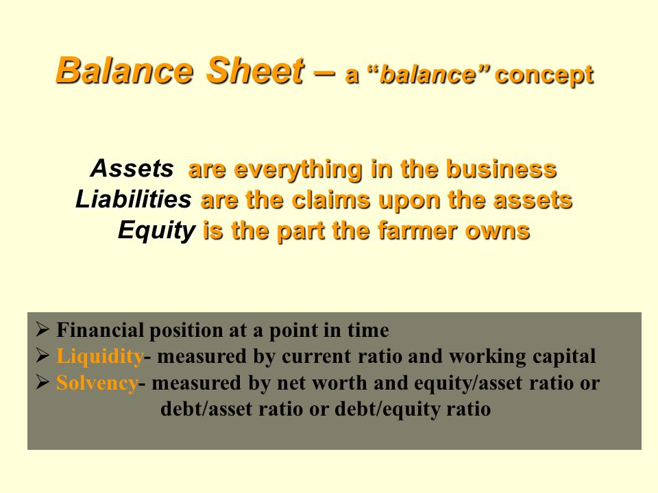 Balance Sheet – a balance concept Assets are everything in the business Liabilities are the claims upon the assets Equity is the part the farmer owns  Financial position at a point in time  Liquidity- measured by current ratio and working capital  Solvency- measured by net worth and equity/asset ratio or debt/asset ratio or debt/equity ratio