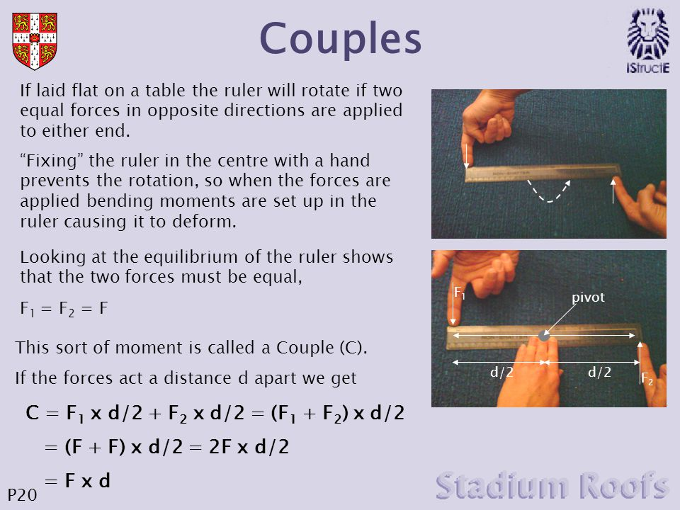 Couples If laid flat on a table the ruler will rotate if two equal forces in opposite directions are applied to either end.