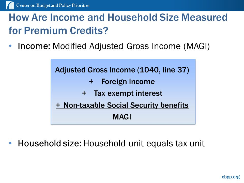 Center on Budget and Policy Priorities cbpp.org How Are Income and Household Size Measured for Premium Credits.