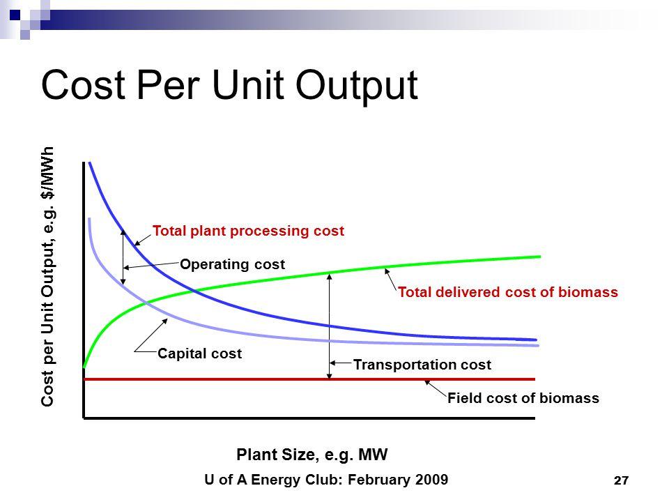 U of A Energy Club: February 2009 27 Cost Per Unit Output Plant Size, e.g.